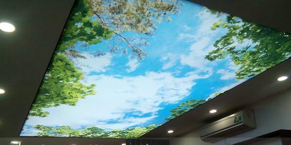 Hình ảnh mẫu trần nhà phòng khách sử dụng vật liệu trần xuyên sáng